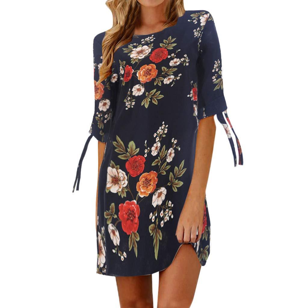 A-Artist Sommerkleid Damen Tshirt Kleid Rundhals Kurzarm Minikleid Kleider Langes Shirt Lose Tunika mit Bowknot Ärmeln