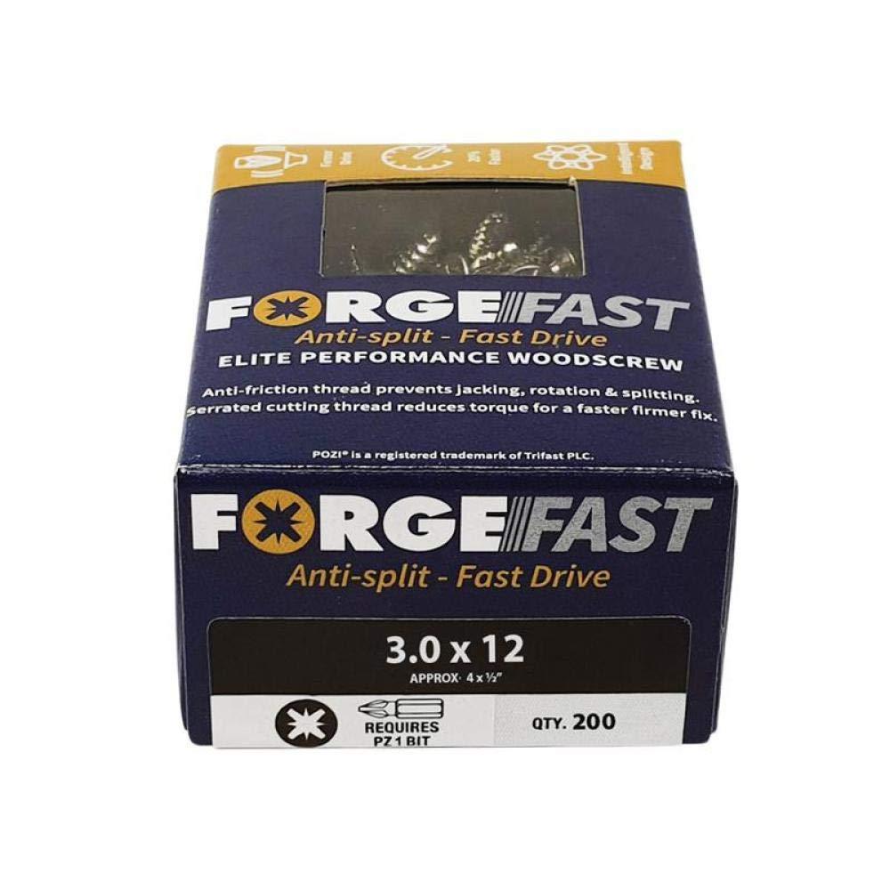 Organizador de tornillos de madera FORFFP1000Y Forgefast Pozi compatible con Elite Performance Forgefix plateado FORFFP670Y color plateado