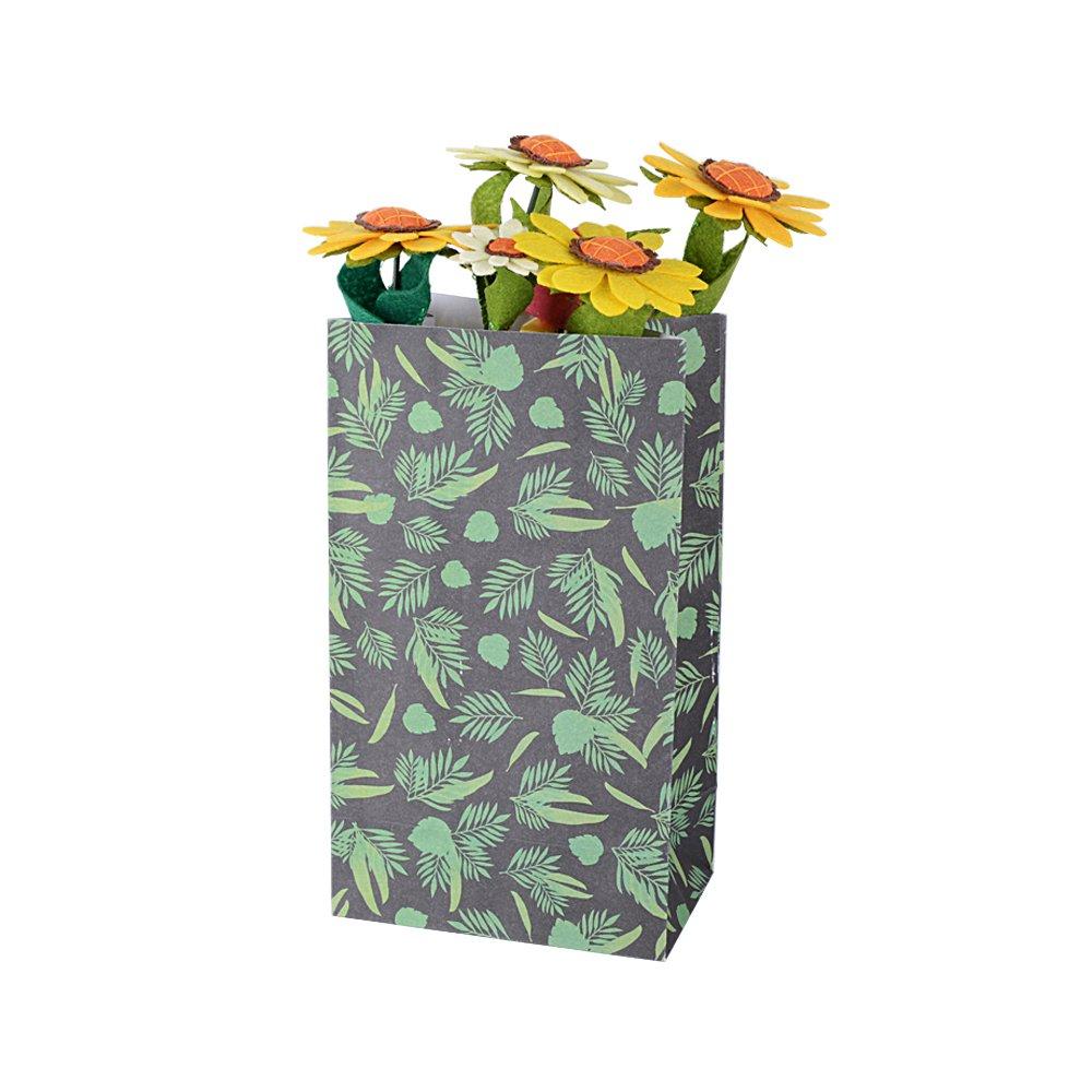 AONER 24 x Bolsas Regalo Caramelo Galletas Boda Navidad Papel Flor 13 x 8 x 23cm con Pegatinas 4 dise/ños 13 x 8 x 23 cm, Flores