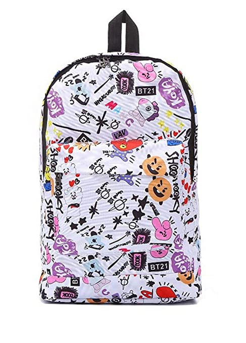 b4d7d14b05f Silver Basic BTS BT21 Backpack Student School Bookbag Cartoon ...