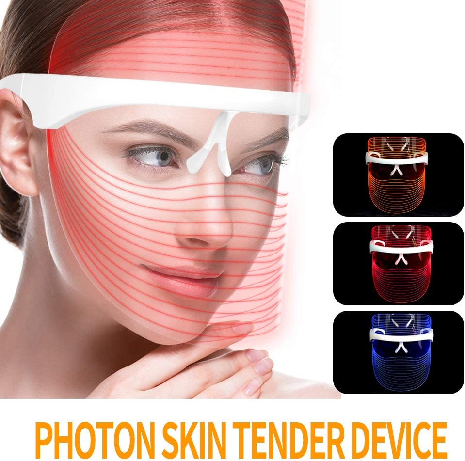 Mascarilla de tratamiento de acné con luz LED de 3 colores, máscara de blanqueamiento LED, terapia facial, sesiones ilimitadas para tratamiento de la piel del acné, luces individuales de color rojo: Amazon.es: