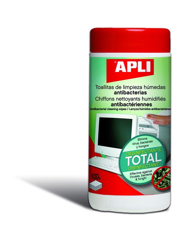 Apli 012083 100 toallitas limpiadoras antibactériennes: Amazon.es: Oficina y papelería