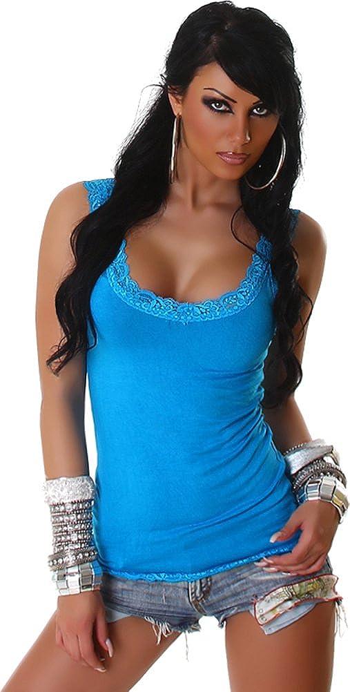 Voyelles Mujer Camiseta Top Portador Tirantes Top con Detalles de Encaje Cuello Redondo
