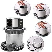 SHD professionell installation uttagslist infällbar flera uttag – 3-vägs med USB 2x laddare, kabellängd 1,5 m, redo att…