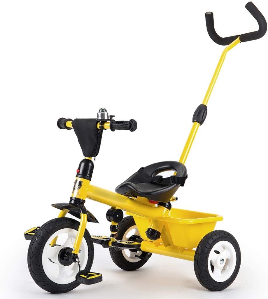 Jian E E-Carro Triciclo de niños Bicicleta Bebé 1-3-5 años de Edad Niño Auto-Infantil Cochecito Resbalón Bebé Artefacto Vagón Ligero Carrito de bebé/ (Color : Amarillo)