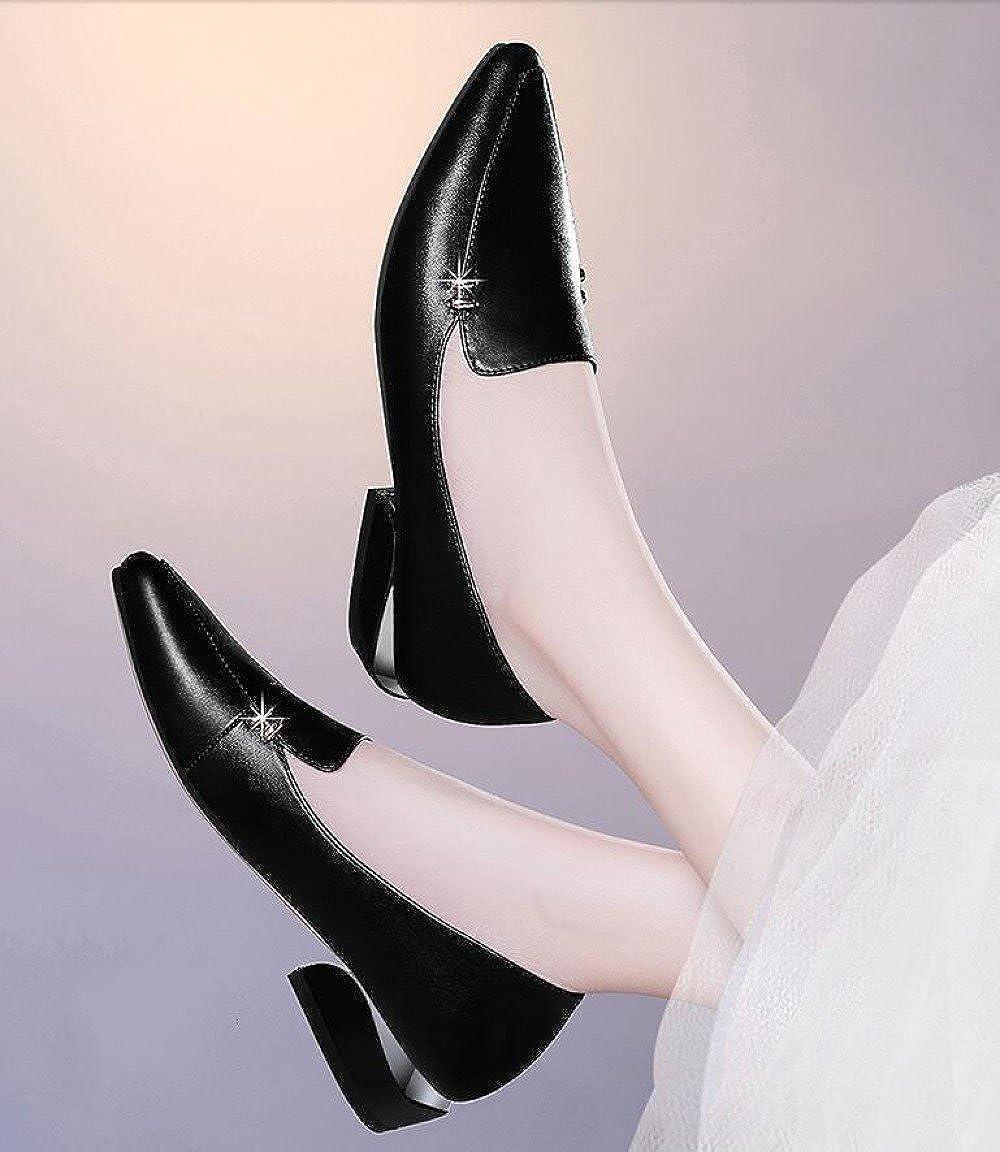 Damenschuhe Für Fashion Frühling Sommer Grob Heel Schuhe Korean Fashion Für Casual Lederschuhe schwarz 21185a
