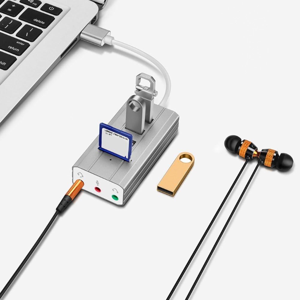 Multifunctional USB 2.0 Hub Sound Card TF SD Card Reader Laptop PC 3 Audio Ports