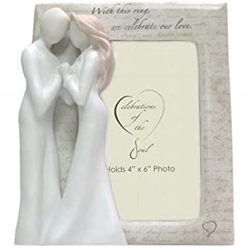 f09124aac6b0 Amazon.com - WL SS-WL-19714 Cream Colored Photo Frame Celebrating Love With  Couple Holding Hands -