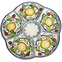 CERAMICHE D'ARTE PARRINI - Italian Ceramic Appetizer Tray Plate Pottery Lemons Hand Painted Made in ITALY Tuscan