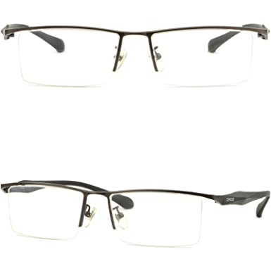 f48649461e Image Unavailable. Image not available for. Color  Large Square Men Light  Titanium Frame Prescription Glasses Photochromic Gray