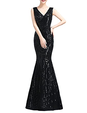 7c671cf8ab50 DarlingU Women s Vintage Mermaid Double V-Neck Formal Prom Evening Dress  Sequined Fancy Party Gowns