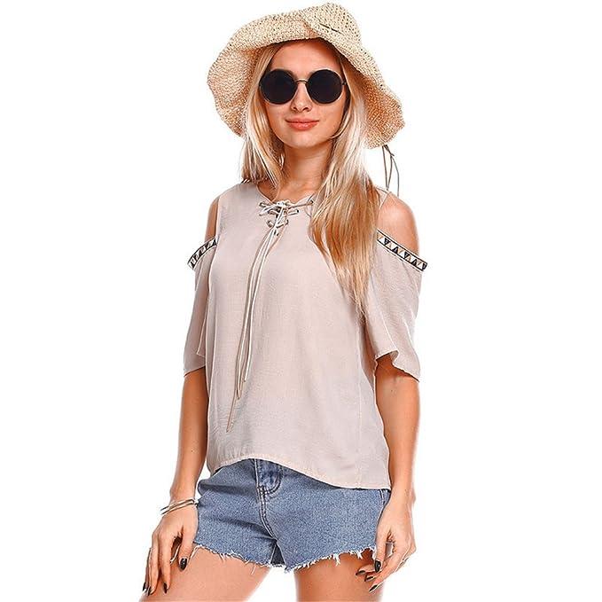 con Cordones con Cuello en V Sólido Top Tops para Mujer de Verano y Blusas Moda