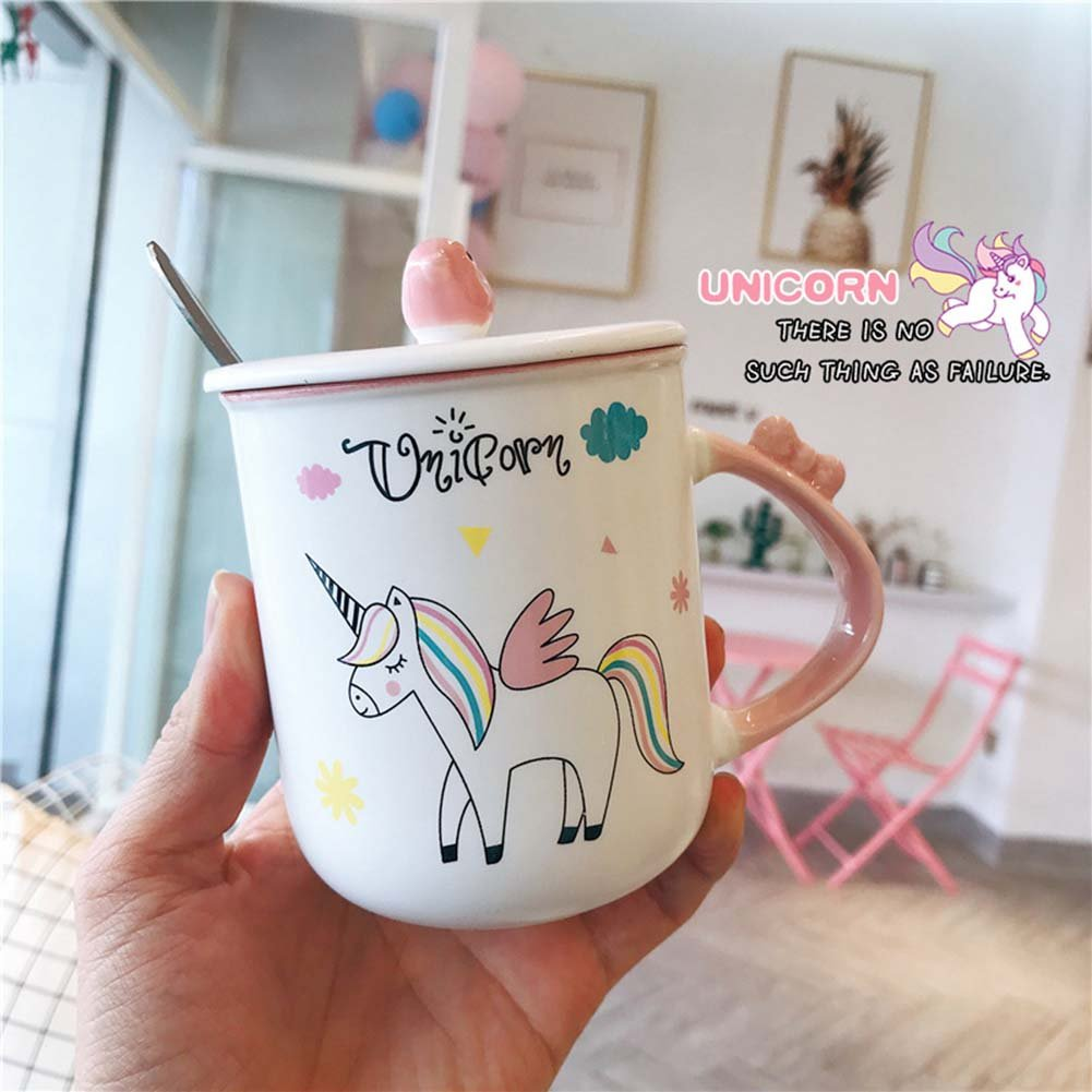 KELYNN Cute Unicorn Mug Coffee Tea Cup with Spoon Ceramic Travel Mug with Lid and Handle for Woman - Unique Home Office 15oz Coffee Tea Mug (A)