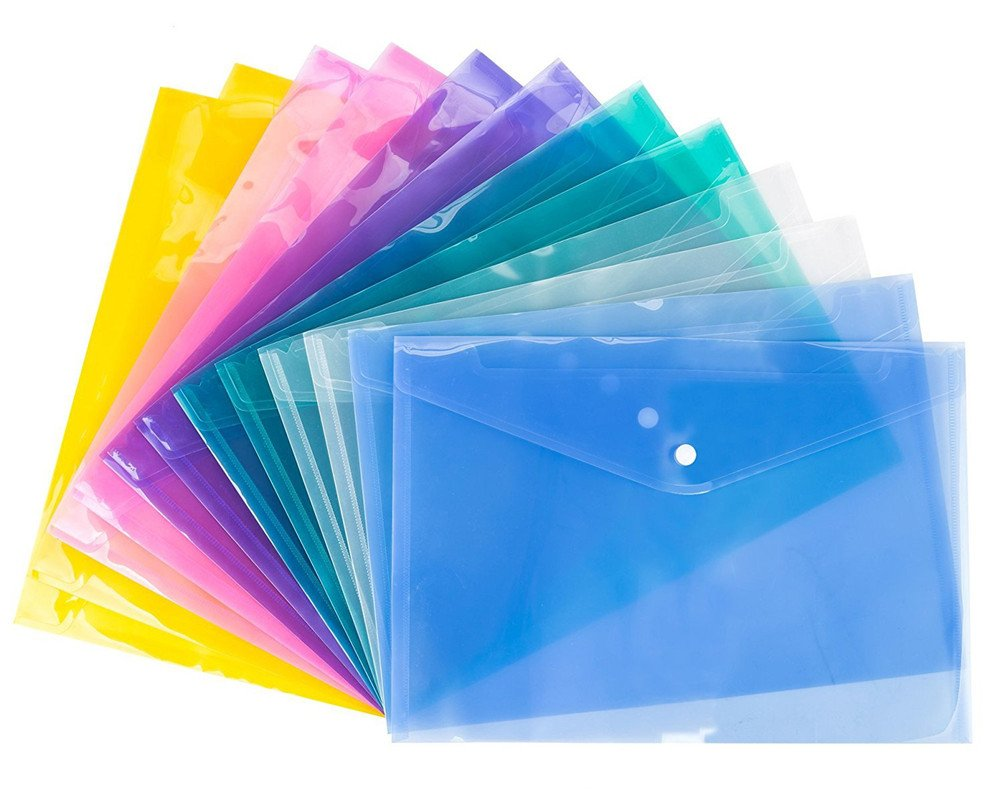 ABBBT Translucent Premium Poly Envelope with Button Closure ,Premium Quality Poly Envelope, US LETTER / A4 size, Set of 12 in 6 assorted Colors, Purple, Green,Pink, White, Blue, Orange (12Pcs-A)