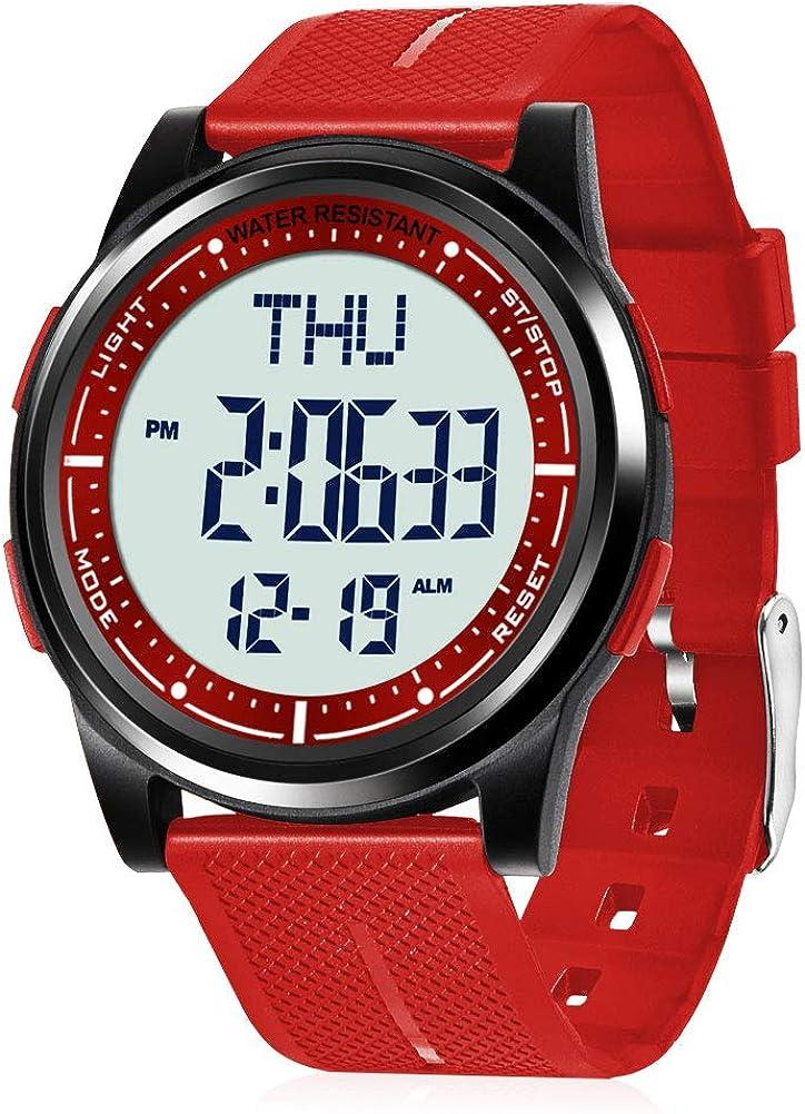 WIFORT Reloj Digital Hombre Mujer,5ATM Impermeable Esfera Grande Ultra Delgado con Cronómetro Cuenta Regresiva Alarma Tiempo Dividido Zone Horaria Dual,Deportivo Relojes de Pulsera Unisex