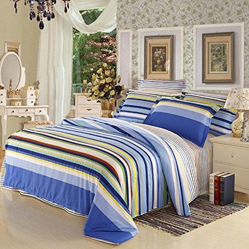 TOP SHOP Home FTSUCQ Time Blue Striped Linen Bed Sheets Quilt Covers Bed Mattress Bedding Four-PCS Sets,size-3 (Top Kidsline Sheet)