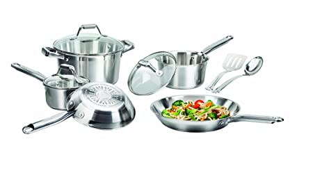 T-fal 2100064662 C811Sa Elegance Cookware Set, Stainless Steel Silver, 10 Piece