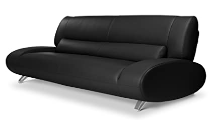 Amazon.com: Zuri Furniture Modern Aspen Black Microfiber Leather ...