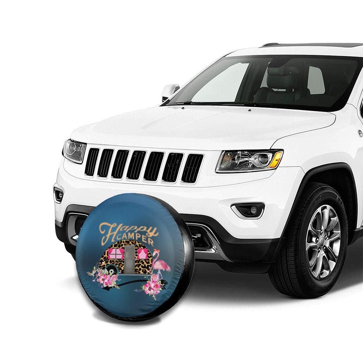 RV BigHappyShop Spare Tire Cover Polyester Happy Camper Waterproof Dust-Proof Universal Spare Wheel Tire Cover Fit,Trailer SUV and Many Vehicle 14 15 16 17