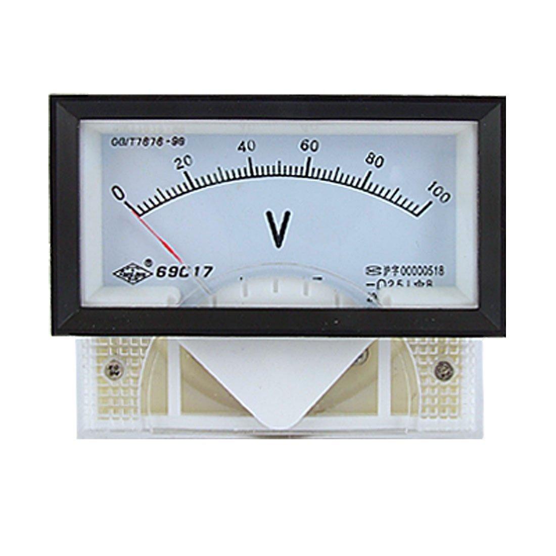 eDealMax 2.5 Panneau de classe Rectangle analogique Voltmètre Jauge, 69C17, DC, 0V - 100V