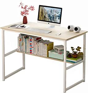 Computer Table Computer Desk Laptop Table Stand Workstation Table with Book Shelf Layer Large Size for Office Home Work Study 100x37x72cm