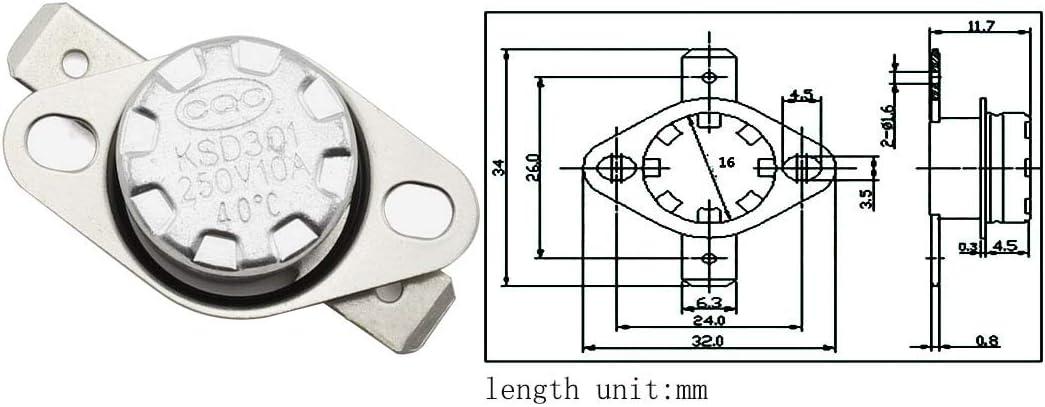 TEHAUX 10pcs Normally Close Temperature Switch Auto 130/°C Temperature Switch Motor Thermal Protector Switch