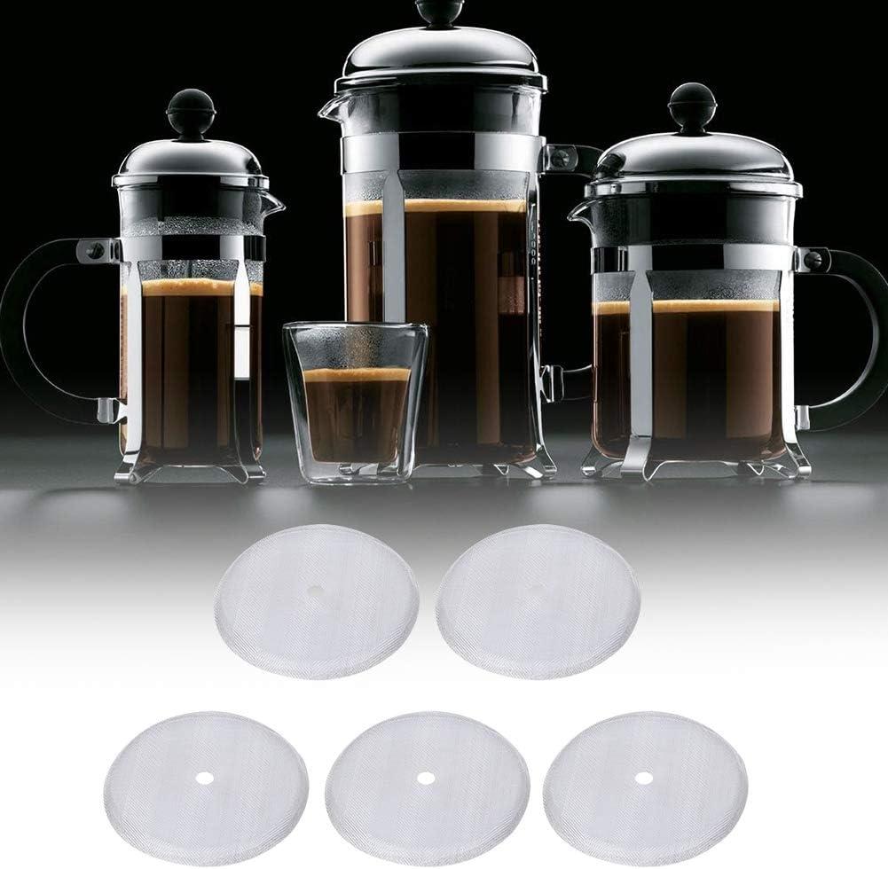 5teiliger Kaffeefilter aus Edelstahl f/ür 600 ml French Press Kaffeekanne Mesh Filter Screen Ersatzzubeh/ör French Press Filter Franz/ösischer Presse filter