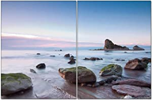2 Pieces,Pictures Paintings On Canvas,Mossy Rocks On The Beach at Sunset Modern Artwork for Living Room Wall Decor and Home D¨¦cor Framed Ready to Hang Can Custom Canvas Prints 6