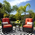 Best Choice Products 3-Piece Patio Wicker Bistro Furniture Set for Outdoor, Garden, Deck w/ 2 Rocking Chairs, 360-Degree Swivel, Weather Resistant Cushions, Tempered Glass Top Side Table - Rust