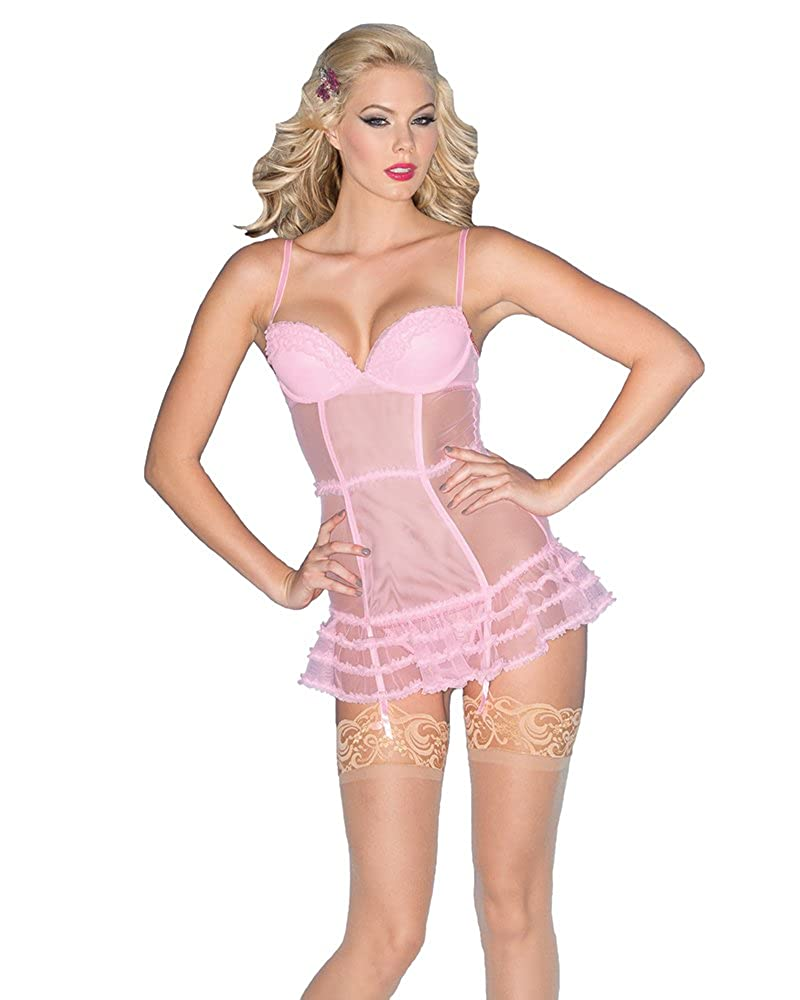Be Wicked Women's Candy Pink Chemise with Ruffled Trim BW1516
