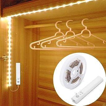 OriFiil 45LED 150cm Tiras LED, Luz Armario Luces LED Nocturna con Sensor de Movimiento para Pasillo Baño Cocina Escalera (funciona con 4 pilas AAA, No Incluidas) (150cm): Amazon.es: Iluminación