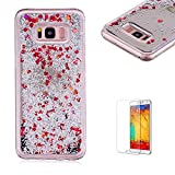 Funyye Liquid Mirror Case for Samsung Galaxy S8 Plus,Stylish Red Sparkle Quicksand Love Hearts Design Slim Fit Hard PC Case for Samsung Galaxy S8 Plus,Crystal Rubber Durable Shell Bumper Back Protective Case for Samsung Galaxy S8 Plus + 1 x Free Screen Protector