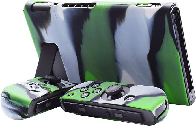 Hikfly Gel de Silicona Agarre Antideslizante Kits de Protección Carcasas Cubrir Piel para Nintendo Switch Consolas y Joy-Con Controlador Con 8pcs Gel de Silicona Empuñaduras Gorras(Camo Green): Amazon.es: Videojuegos