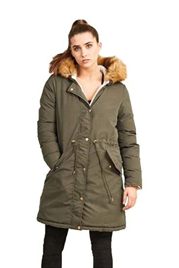 6ce4b6bd1db Ladies Parka Jacket Brave Soul Womens Long REVERSIBLE Fur Coat ...