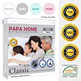 Waterproof Mattress Protector - Papahome Classic Hypoallergenic Mattress Protector - Lab Tested Waterproof - Fitted Polyester Jersey Cover - Vinyl Free - 4 Different Colors Available (Twin, Grey)