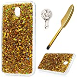 For Samsung Galaxy J5 2017 Case,Badalink Galaxy J5 2017 Cover Bling Glitter Sparkly Hybrid Solid Acrylic Hard Back with Shock Absorption TPU Bumper Frame Ultra-Slim Anti-Scratch Protective Cover for Samsung Galaxy J5 2017 Case /J530,Gold