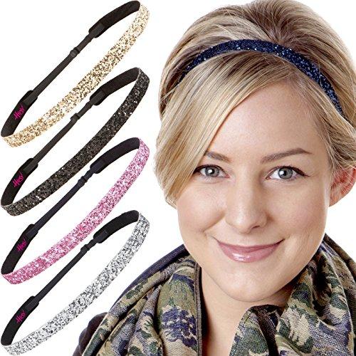 Hipsy Women's Adjustable Cute Fashion Headbands Hairband Gift Pack (5pk Skinny Navy/Silver/Light -