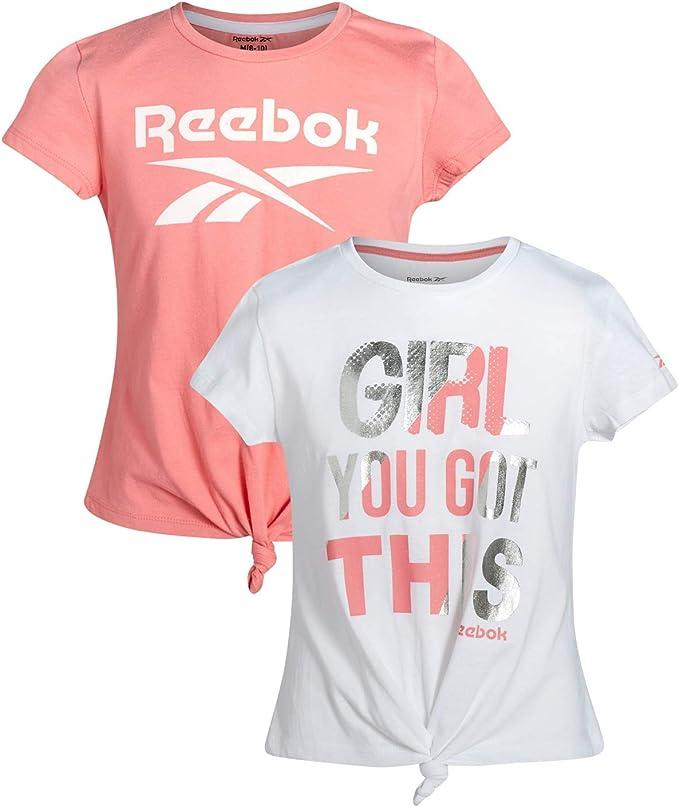 Reebok Girls Athletic Twist Front Fashion T-Shirt (2 Pack): Amazon.es: Ropa y accesorios
