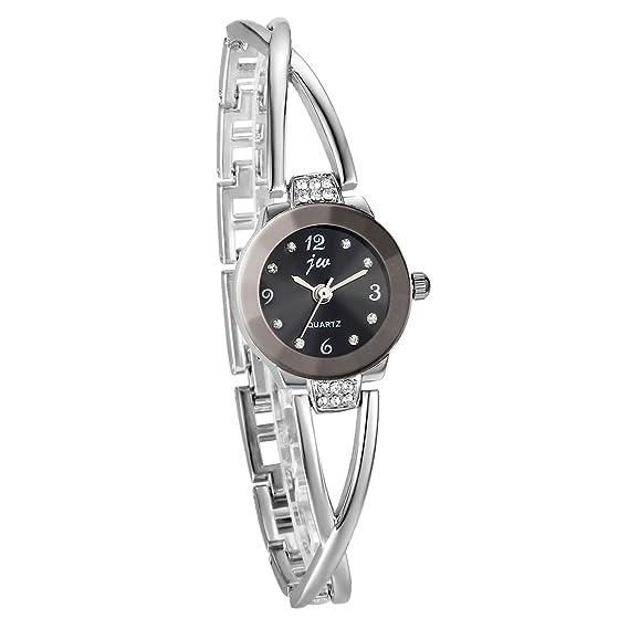 avaner reloj mujer reloj pulsera cuarzo Ultra delgada reloj pedrería Original gráfico analógica pulsera de metal pulsera reloj mujer plata: Amazon.es: ...