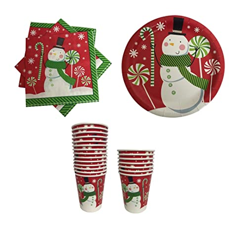 Amazon.com: Christmas Paper Plates Napkins and Cups Red with Snowman ...