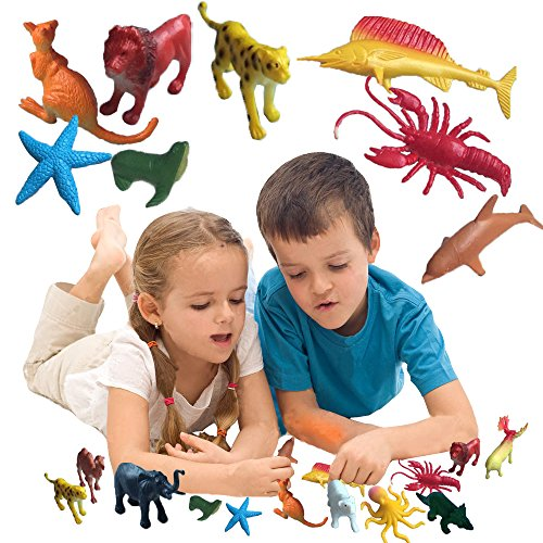 Jungle and Sea Miniatures - 90 Pieces - Realistic Colorful Toy Animals Figures - Toy Cubby Bulk Gifts, Games, and Entertainment! by Toy Cubby