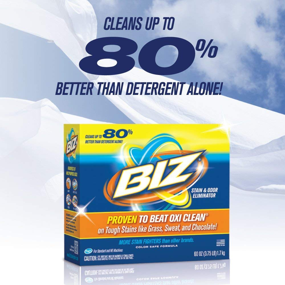 Biz Laundry Detergent Powder Booster, Stain & Odor Removal - 80 Ounces (2-Pack) by BIZ (Image #2)