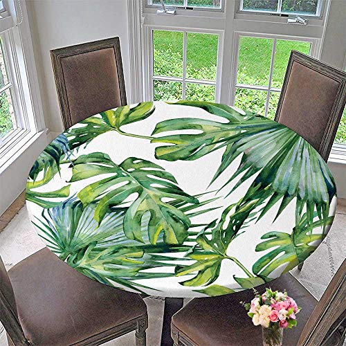 PINAFORE HOME Round Table Tablecloth of Tropical Leaves Dense Jungle Painted Banner with Tropic for Wedding Restaurant Party 40