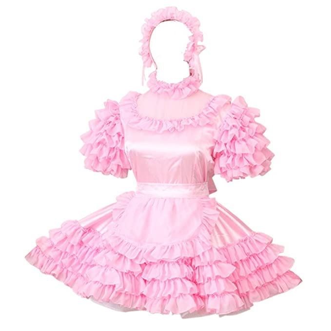 Gocebaby Sissy Lockable Maid Light Pink Stain Dress Uniform Costume (XXXL)