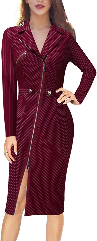 VFSHOW Womens Lapel Asymmetric Zip Buttons Wear to Work Office Sheath Dress