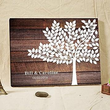 Amazon De Personalisierte Hochzeit Gastebuch Baum Rustikal Holz