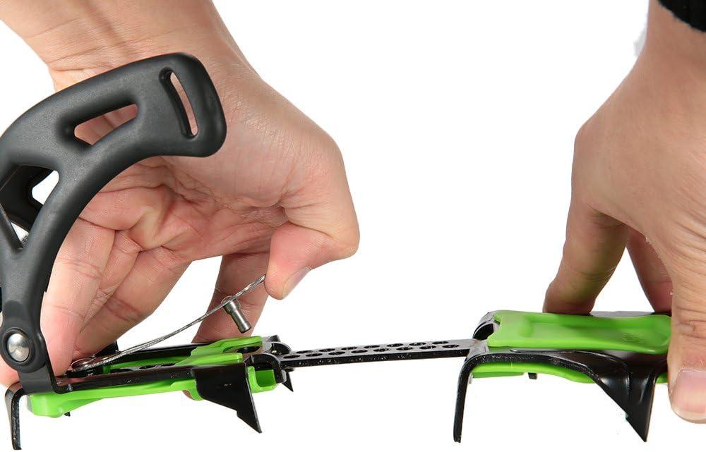 Docooler 12/14 Puntos Pinzas Dentadas Crampones Escalada en Hielo de Acero al Manganeso Crampón Dispositivo de Tracción