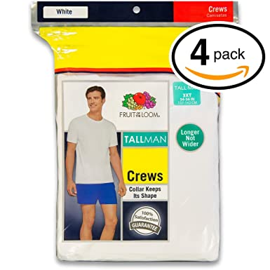 Fruit of the Loom Mens 4Pack TALL White Crewneck T-Shirts Undershirt L