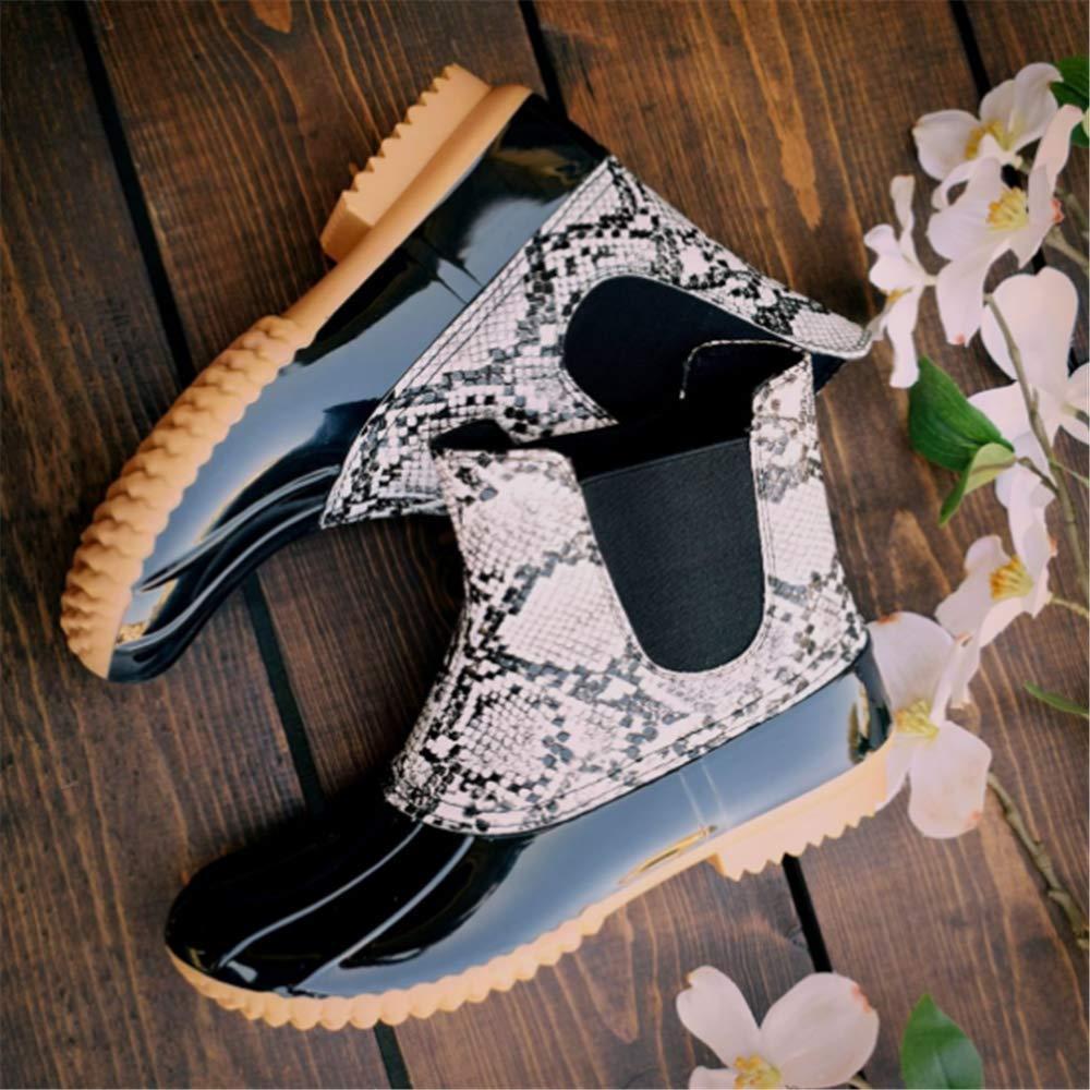 Botas de Agua Mujer Goma Impermeables Botas de Lluvia Atajo Invierno Calentar Zapatos de Trabajo Jardin Slip on Plataforma 2.9cm Beige Negro Azul Rojo EU36-EU41