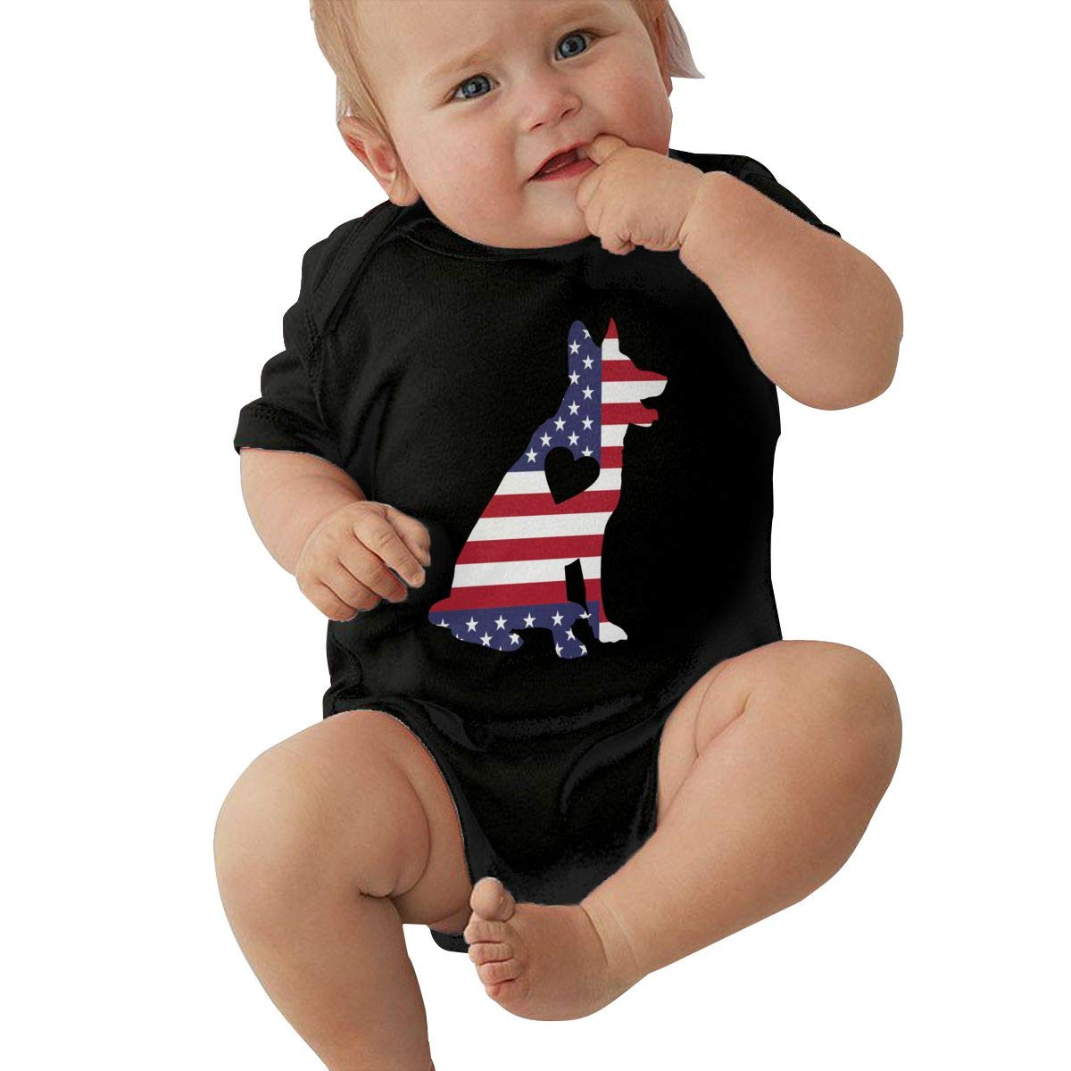 Newborn Baby Girl Boy German Shepherd Heart USA Flag Outfit Romper Jumpsuit Short Sleeve Bodysuit Tops Clothes